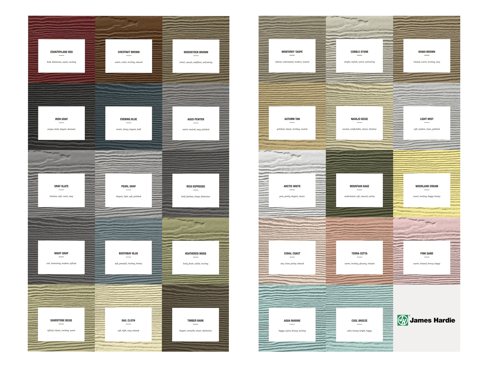 James Hardie Color Chart